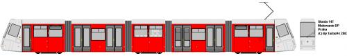 Skoda 14T - DP Praha. Protoplasta 16T przeznaczonej dla Wrocławia - różni się wysoką podłogą w 3 członie.