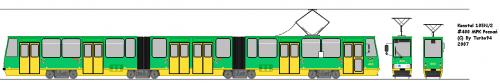 Konstal 105N2 #400 - przerobiony w 1994 roku przez HCP skład stopiątek. Posiada niską część w członie środkowym.