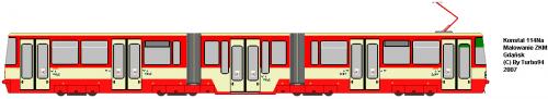 Konstal 114Na - ZKM Gdańsk. Rozwinięcie 112N o człon środkowy.
