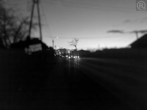 #Bieruń #widok #droga #ulica #czarno #białe #efekt #Tilt #shift